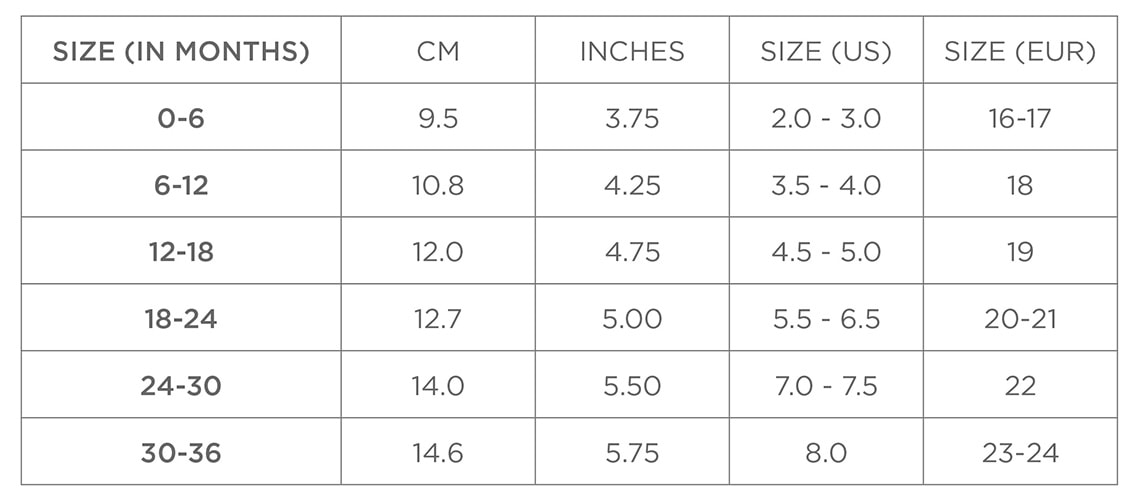 ways to my baby's shoe size